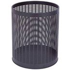 Economy black perforated hotel waste bin
