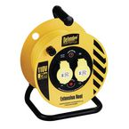 110V Light industrial cable reel, 25 metres long with 2 outlets