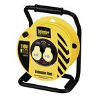 110V Industrial trade cable reel, 50 metres long with 2 outlets