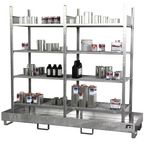 Small can shelving and sumps - 8 retention shelf- Double bay unit with sump
