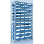 Galvanised shelving including shelf bins  Starter and add on bays - 12 shelves - 32 bins