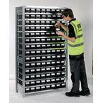 Galvanised shelving including shelf bins Starter and add on bays - 14 shelves - 112 bins