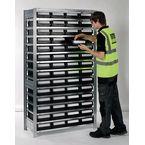Galvanised shelving including shelf bins Starter and add on bays - 14 shelves - 56 bins