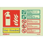 Photoluminescent Fire extinguisher identification signs - Wet chemical