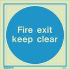 Photoluminescent automatic fire exit keep clear sign