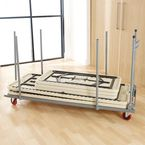 Expandable storage trolley for lightweight folding tables