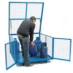 Security cage with a fork-lift base